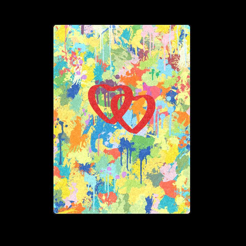 "Love Hearts Colorful Splash Design Blanket 58""x80"""