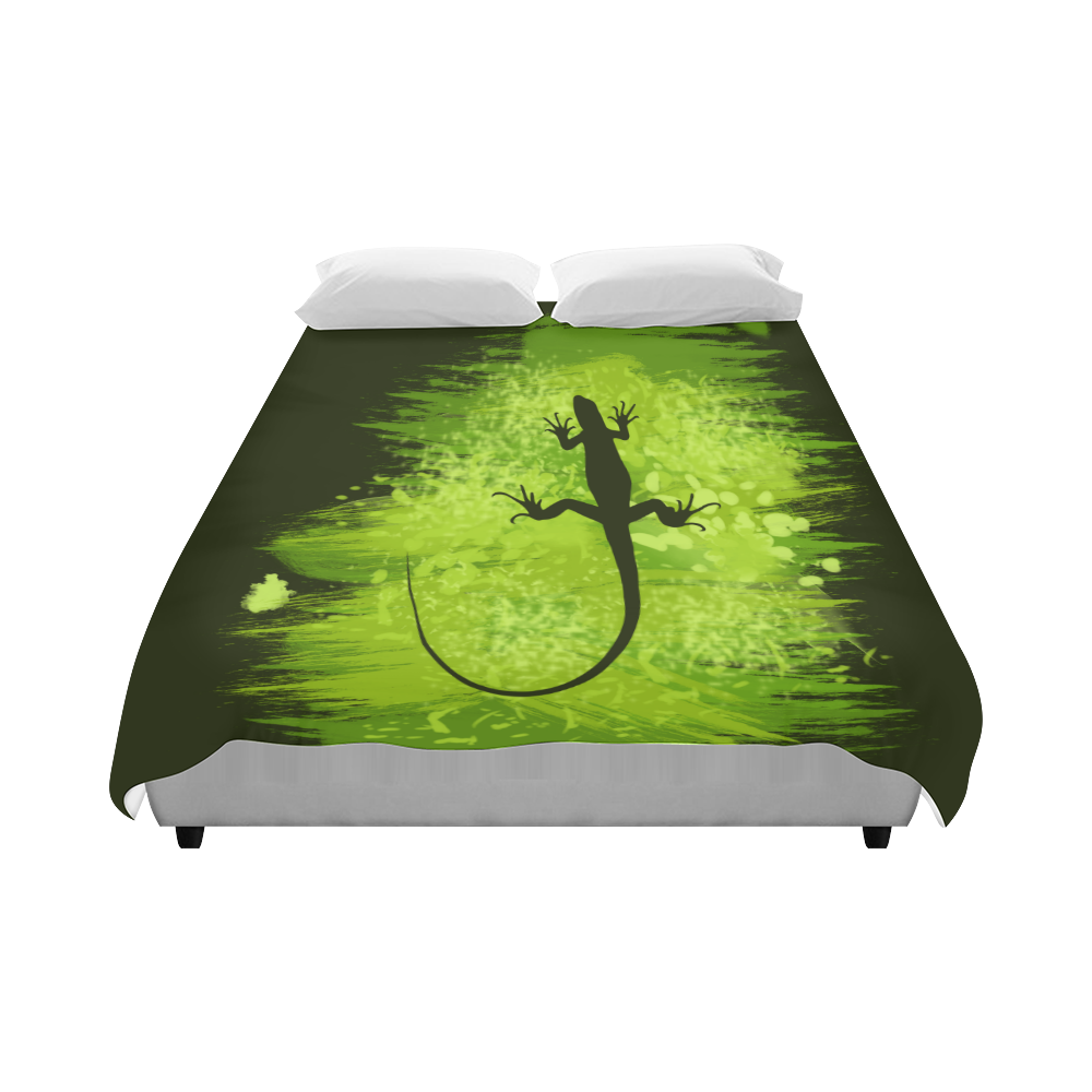 "Green Lizard Shape Painting Duvet Cover 86""x70"" ( All-over-print)"