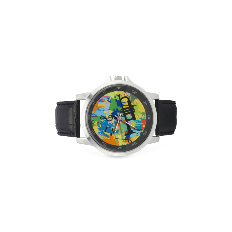 Let´s Musik Black Shape Colorful Splash Unisex Stainless Steel Leather Strap Watch(Model 202)