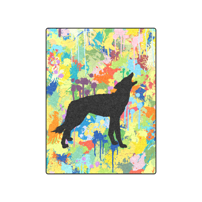 "Free Wolf Colorful Splash Blanket 50""x60"""