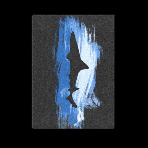 "Shark Shape Template Blue Painting Blanket 58""x80"""