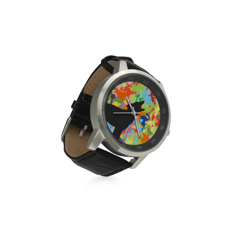 Wolf Black Shape Colorful Splash Y Background Unisex Stainless Steel Leather Strap Watch(Model 202)