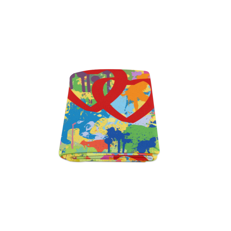 "Love Hearts Colorful Splash Design Blanket 40""x50"""