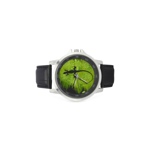 Green Lizard Black Shape Painting Y Background Unisex Stainless Steel Leather Strap Watch(Model 202)