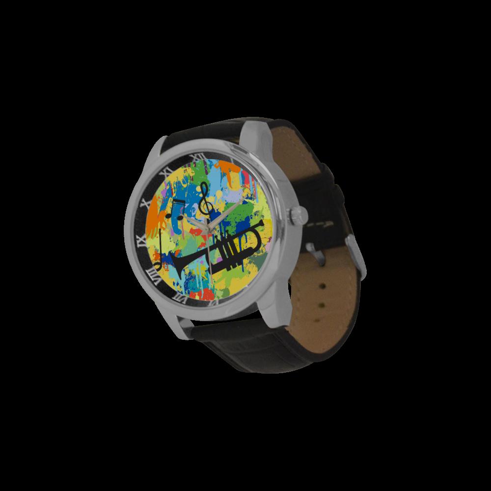 Let´s Musik Black Shape Colorful Splash Men's Leather Strap Large Dial Watch(Model 213)