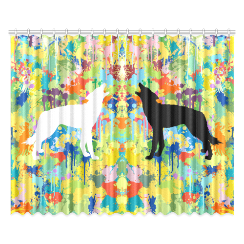 """Free Wolf Colorful Splash Black and White Window Curtain 52""""x84""""(Two Pieces)"""
