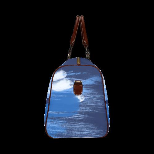 Shark Shape Template Blue Painting Waterproof Travel Bag/Small (Model 1639)