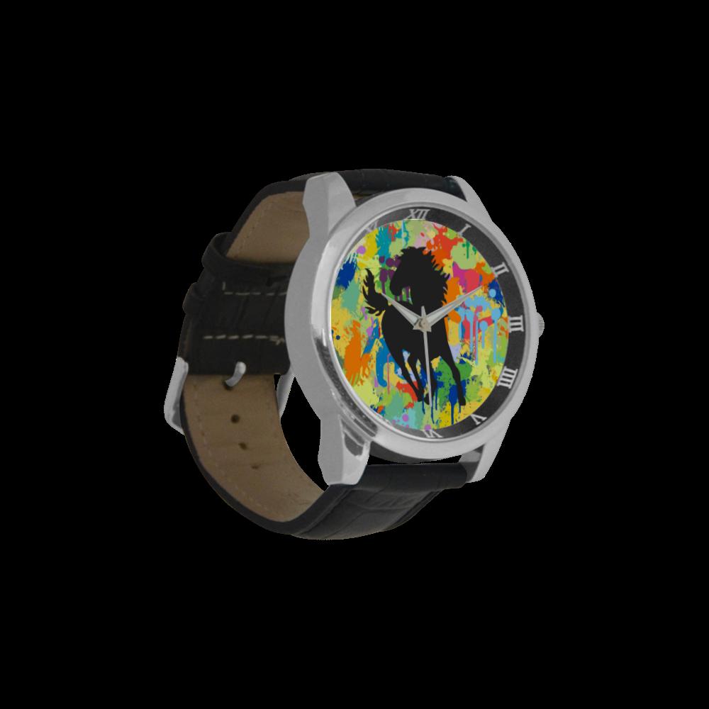 Horse Black Shape Colorful Splash Y Background Men's Leather Strap Large Dial Watch(Model 213)