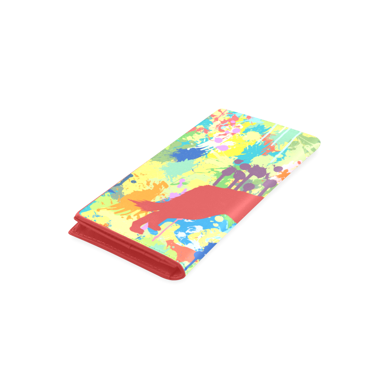 Free Wolf Colorful Splash Complete Women's Leather Wallet (Model 1611)