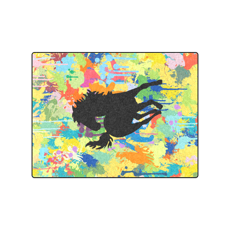"Horse Shape Template Colorful Splash Blanket 50""x60"""