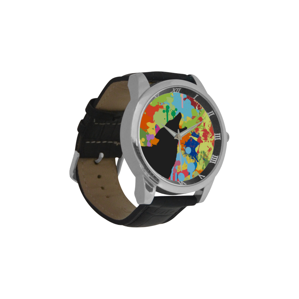 Wolf Black Shape Colorful Splash Y Background Men's Leather Strap Large Dial Watch(Model 213)