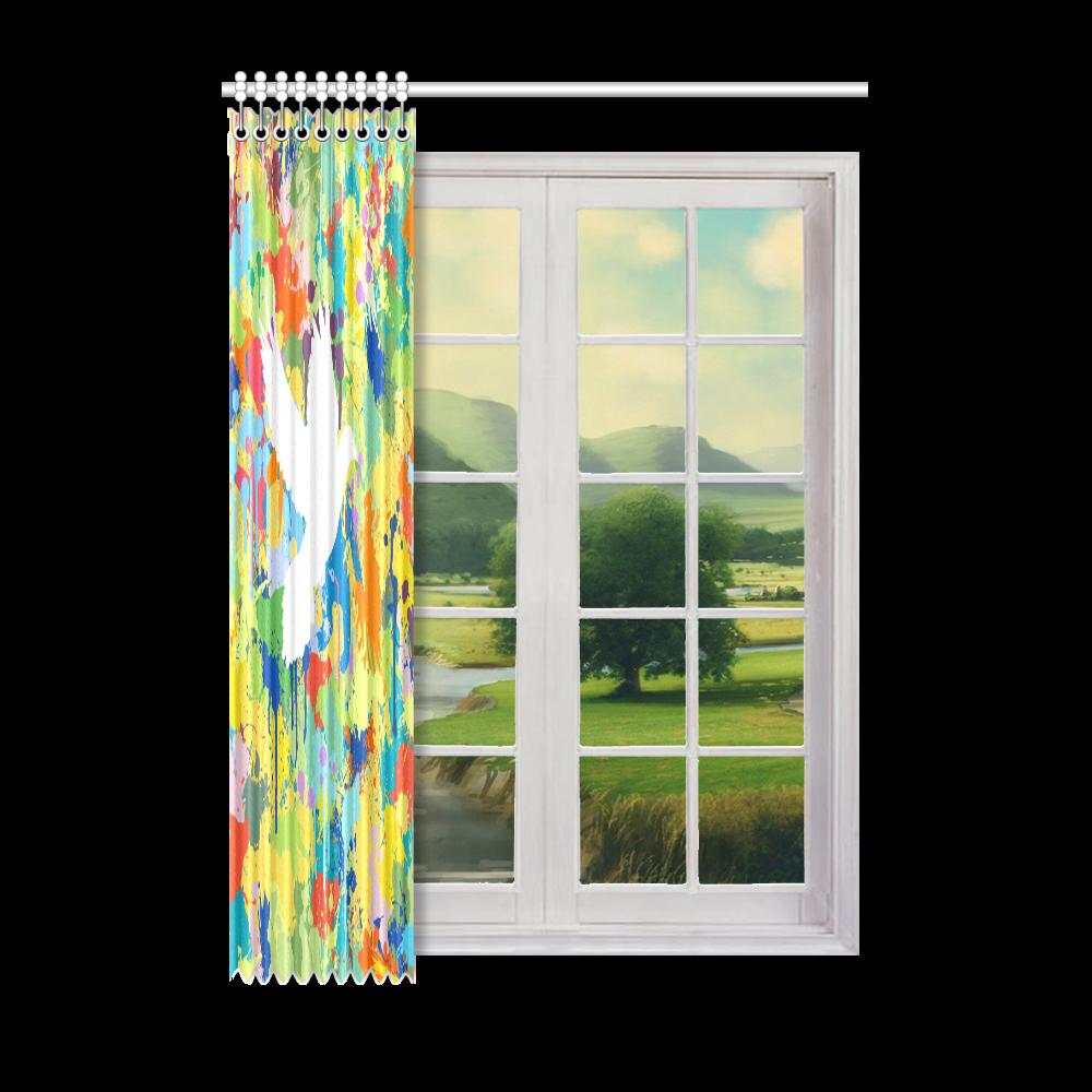 "Dove White Colorful Splash Window Curtain 52"" x 72""(One Piece)"