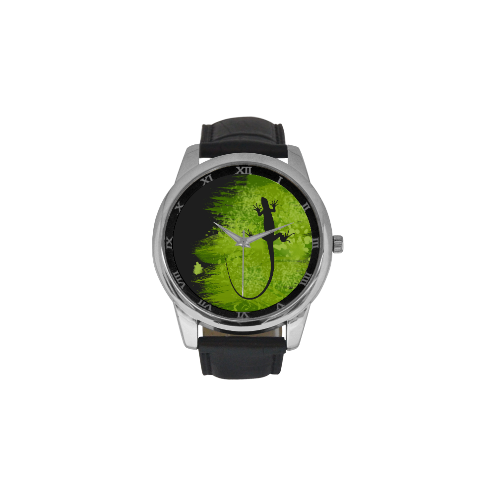 Green Lizard Shape Painting Your Background Men's Leather Strap Large Dial Watch(Model 213)