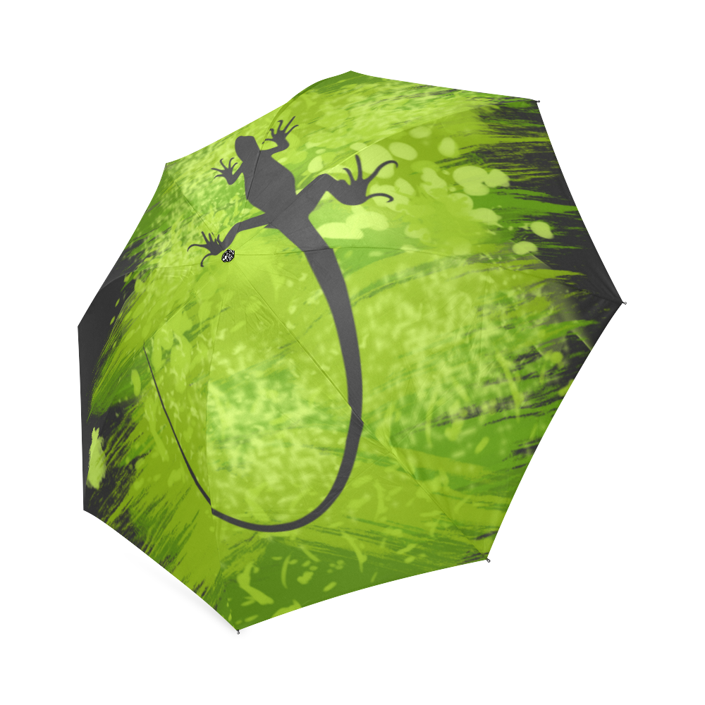 Green Lizard Shape Painting Your Background Foldable Umbrella (Model U01)