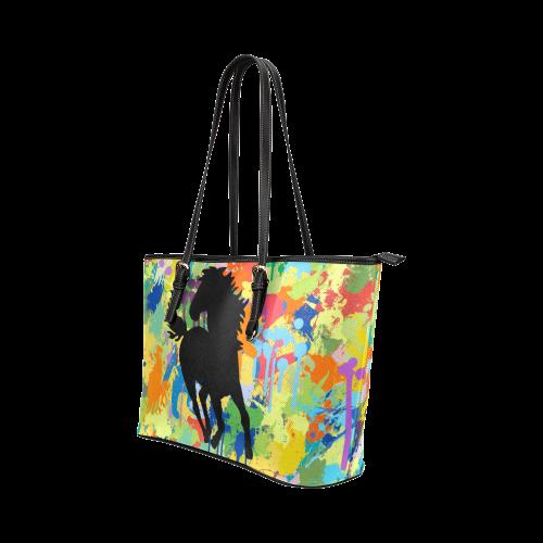 Horse Black Shape Colorful Splash Leather Tote Bag/Large (Model 1651)