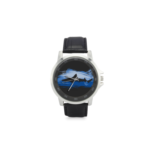 Shark Shape Blue Painting Your Background Unisex Stainless Steel Leather Strap Watch(Model 202)