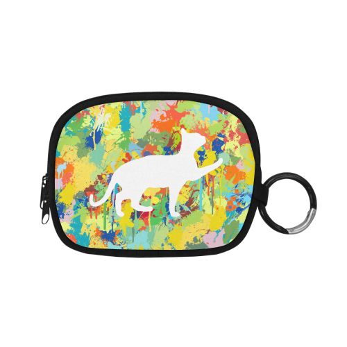 Lovely Cat Colorful Splash Complet Coin Purse (Model 1605)