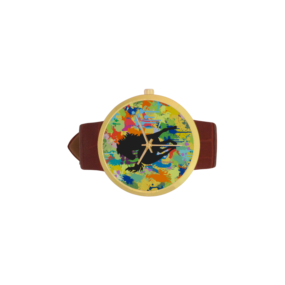 Horse Black Shape Colorful Splash Y Background Women's Golden Leather Strap Watch(Model 212)