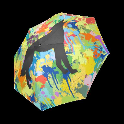Wolf Colorful Splash Y Background Foldable Umbrella (Model U01)