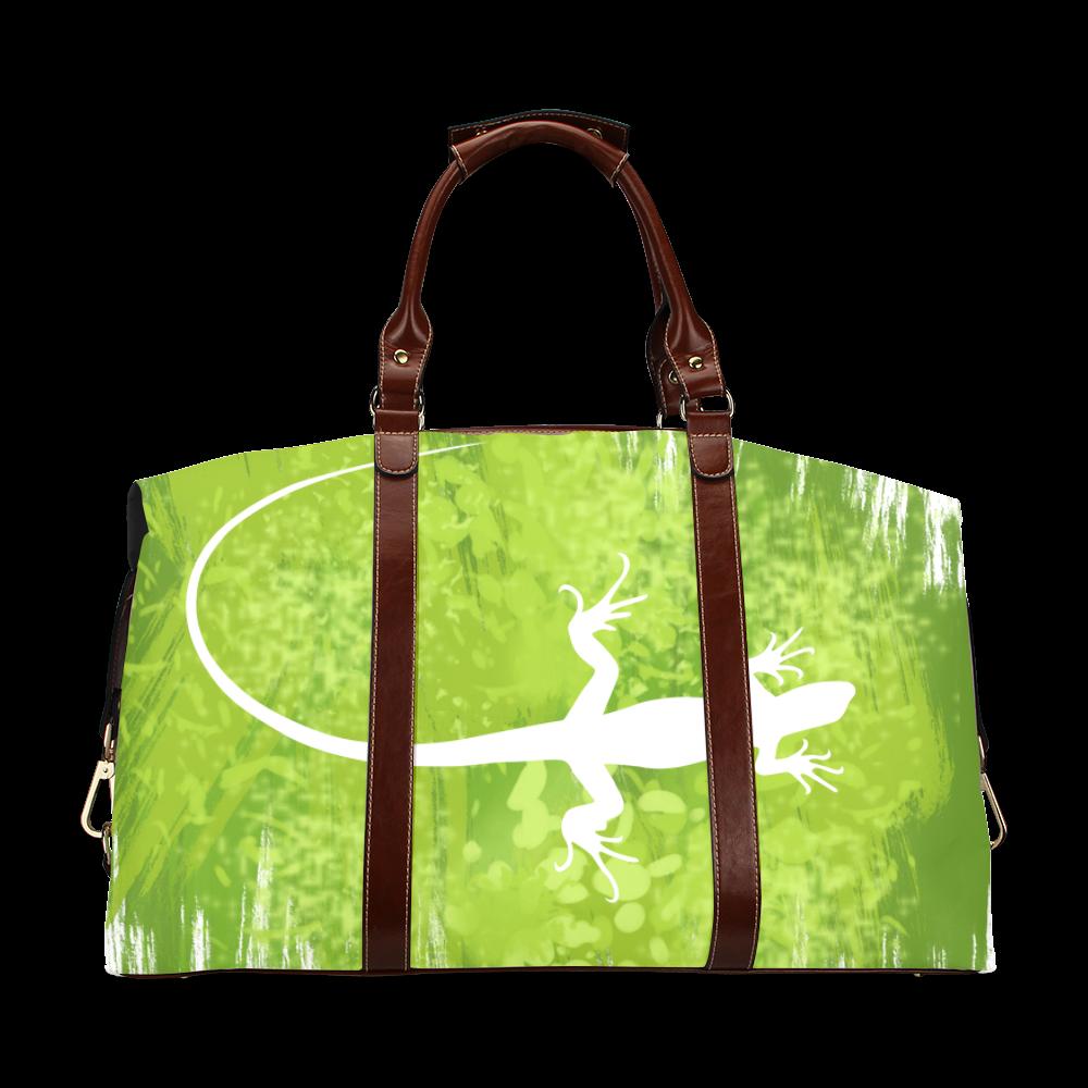 Green Lizard Shape Painting Classic Travel Bag (Model 1643)