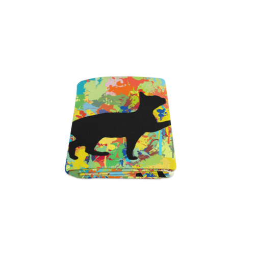 "Lovely Cat Colorful Splash Complet Blanket 40""x50"""