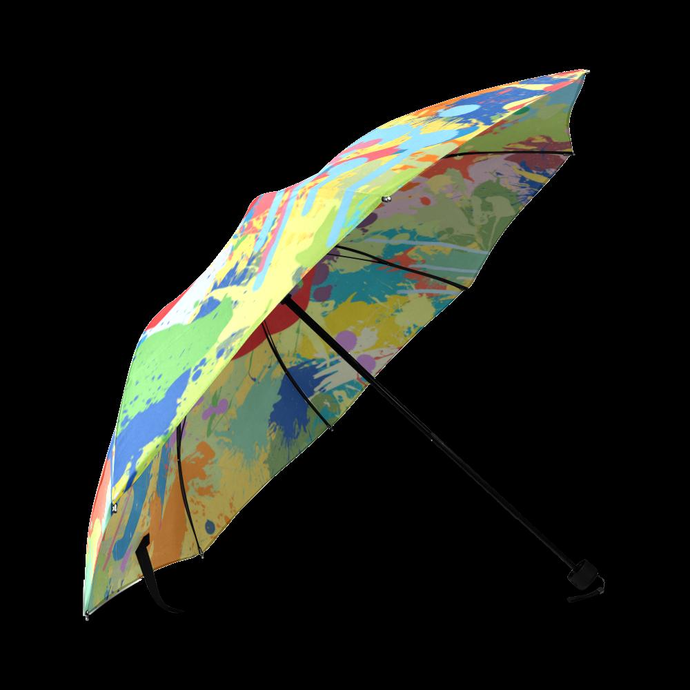 Love Hearts Colorful Splash Design Foldable Umbrella (Model U01)