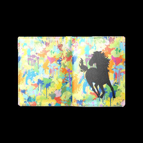 Horse Shape Colorful Splash Men's Leather Wallet (Model 1612)