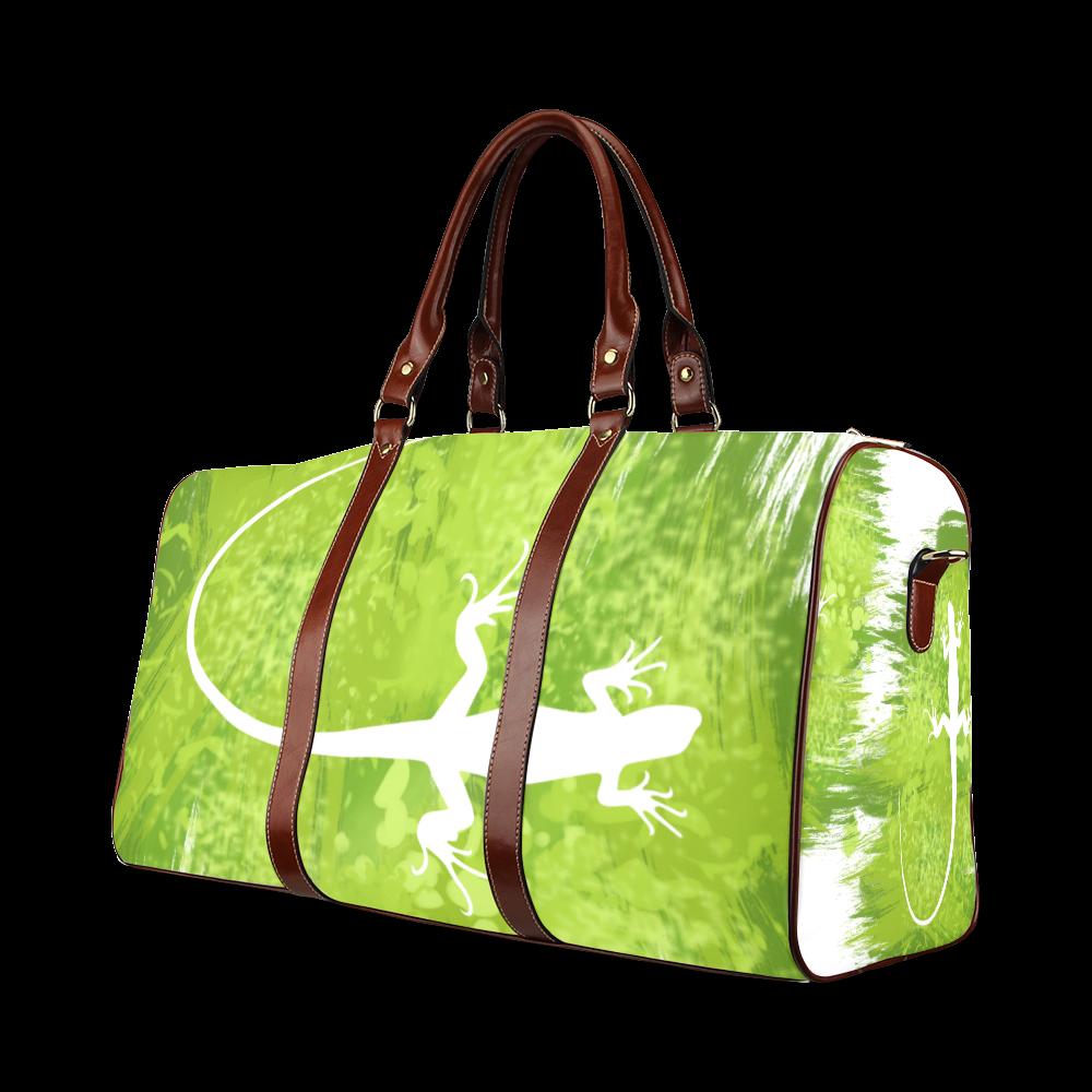 Green Lizard Shape Painting Waterproof Travel Bag/Small (Model 1639)