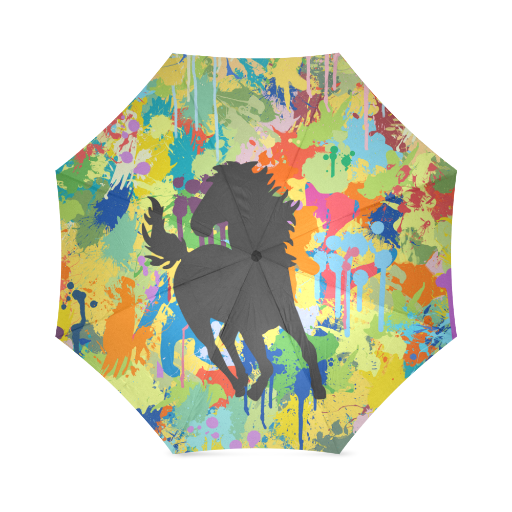 Horse Black Shape Colorful Splash Y Background Foldable Umbrella (Model U01)