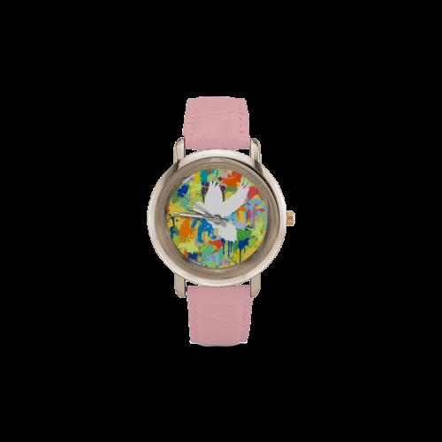 Dove White Shape Colorful Splash Women's Rose Gold Leather Strap Watch(Model 201)