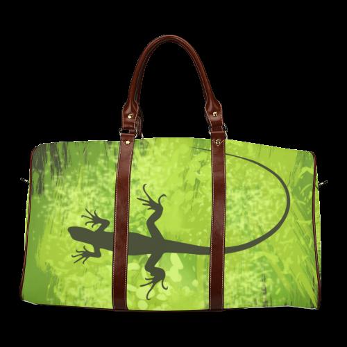 Green Lizard Shape Painting Dark Green Waterproof Travel Bag/Small (Model 1639)