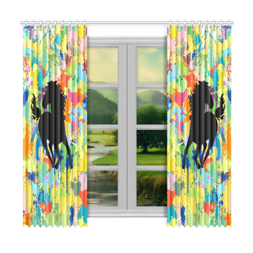 "Horse Shape Template Colorful Splash Window Curtain 50""x96""(Two Piece)"