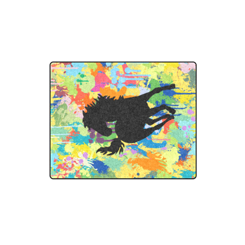 "Horse Shape Template Colorful Splash Blanket 40""x50"""