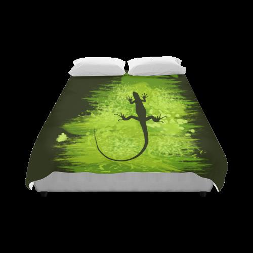 "Green Lizard Shape Painting Duvet Cover 86""x70"" ( All-over-print)"