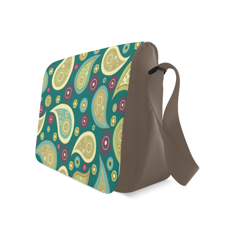 Retro Green Paisley Messenger Bag (Model 1628)