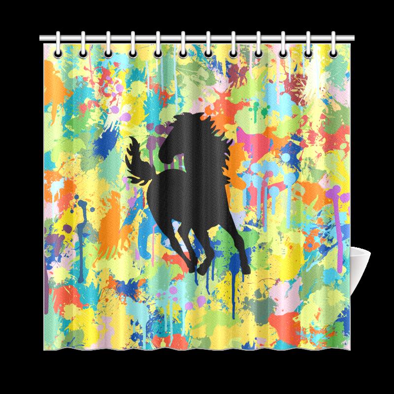 "Horse Shape Template Colorful Splash Shower Curtain 72""x72"""