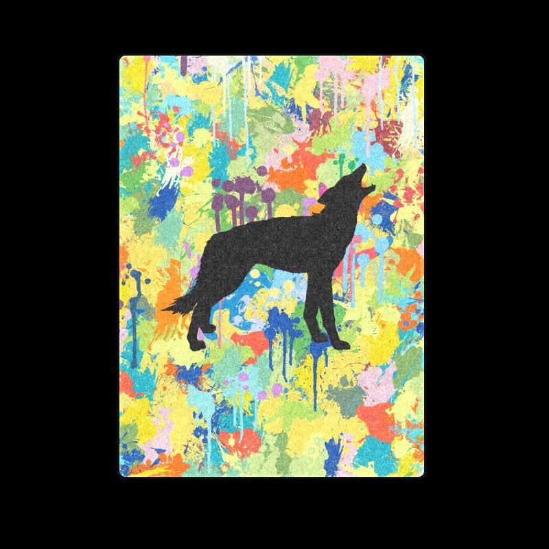 "Free Wolf Colorful Splash Blanket 58""x80"""