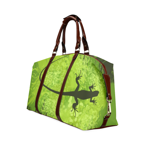 Green Lizard Shape Painting Dark Green Classic Travel Bag (Model 1643)