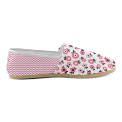 Pink and White Chevron Unisex Casual Shoes (Model 004)