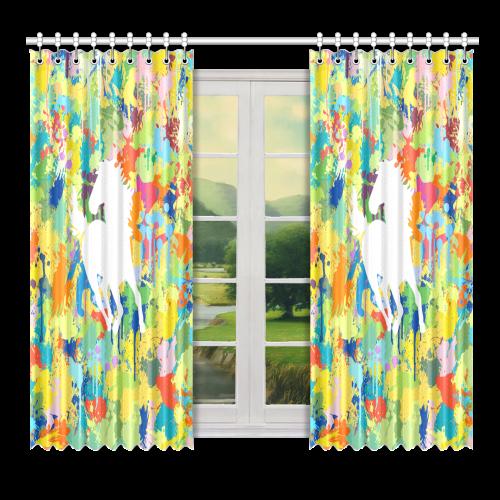 "Horse Shape Template Colorful Splash Window Curtain 52"" x 72""(One Piece)"