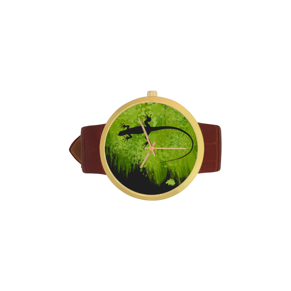 Green Lizard Shape Painting Your Background Women's Golden Leather Strap Watch(Model 212)
