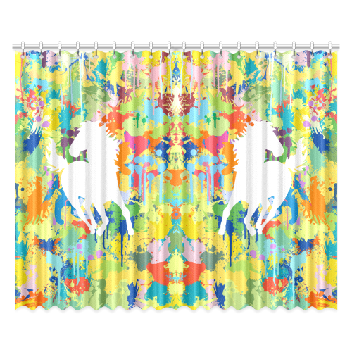 """Horse Shape Template Colorful Splash Window Curtain 52""""x84""""(Two Pieces)"""