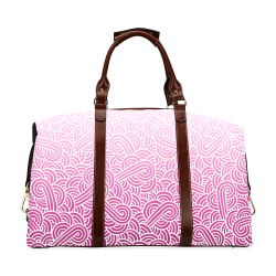 Ombre pink and white swirls doodles Classic Travel Bag (Model 1643)