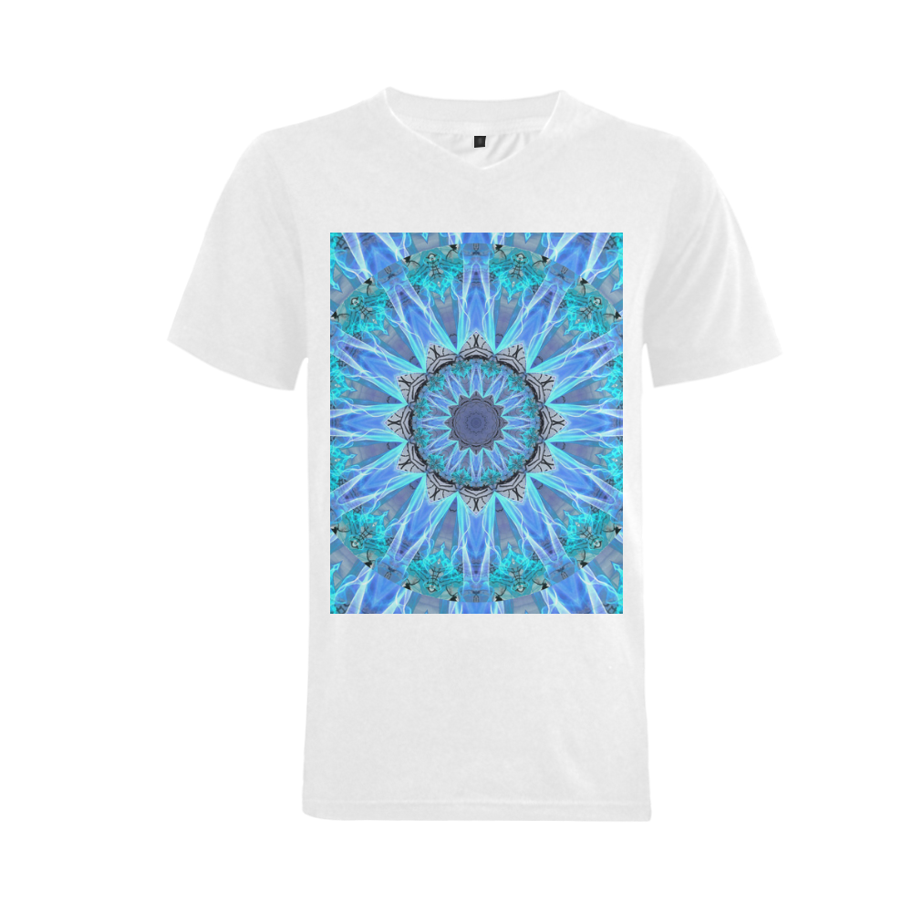 Sapphire Ice Flame, Cyan Blue Crystal Wheel Men's V-Neck T-shirt (USA Size) (Model T10)