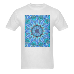 Sapphire Ice Flame, Cyan Blue Crystal Wheel Men's T-Shirt in USA Size (Two Sides Printing)