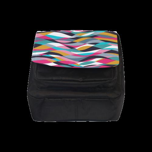Retro Mod Abstract Waves Crossbody Nylon Bags (Model 1633)