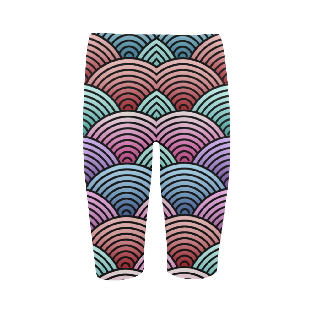 Concentric Circle Pattern Hestia Cropped Leggings (Model L03)
