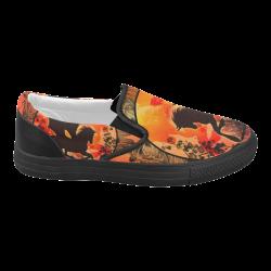 Wonderful black unicorn silhouette Women's Slip-on Canvas Shoes (Model 019)