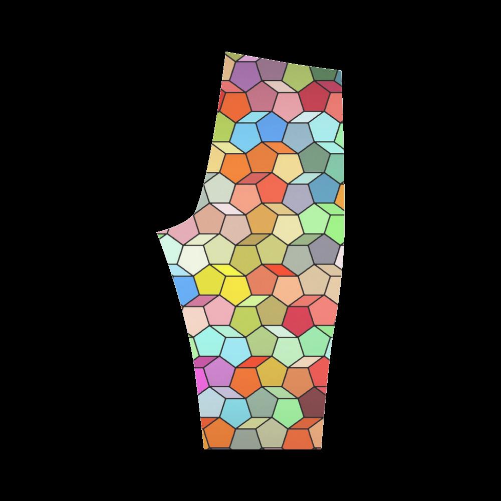 Colorful Polygon Pattern Hestia Cropped Leggings (Model L03)