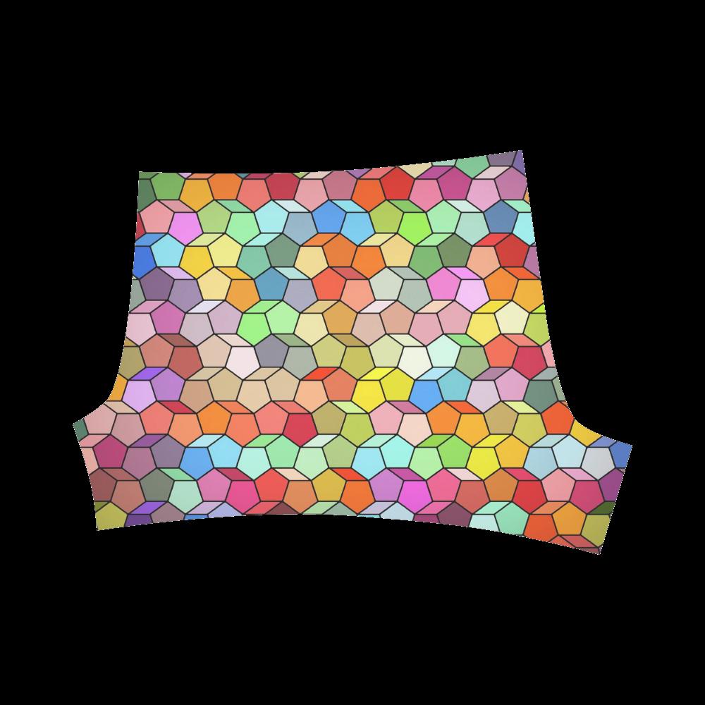 Colorful Polygon Pattern Briseis Skinny Shorts (Model L04)